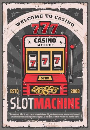 Máquina tragamonedas de póquer de casino o póquer bandido con un solo brazo.