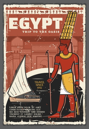 Egypt travel and tourist tours on Nile vintage poster.