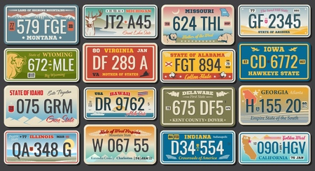 Abstract vehicle registration plates. Vector number plates of California, Alabama or Virginia and Hawaii, Montana or Illinois and US Georgia or Delaware, Idaho and Michigan. Abstract numbers