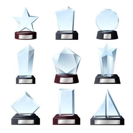 Glass awards and crystal trophy prizes. Vector realistic empty blank transparent star, circle or rectangle sport champion achievement and music winner awards on pedestals with title plates