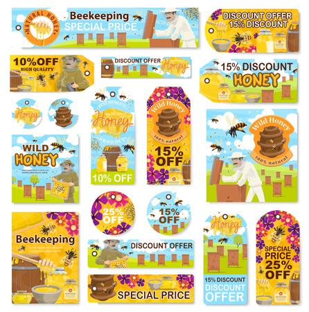 Ferme apicole apicole et magasin de produits de miel étiquettes de remise à prix spécial. Vecteurs