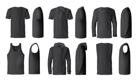 Man t-shirts, sport tank tops or hoodies and casual polo shirts mockup models. Vector isolated black menswear apparel, realistic blank front, back and side view set for brand promo