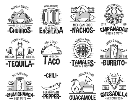 Mexican cuisine restaurant or cafe icons.