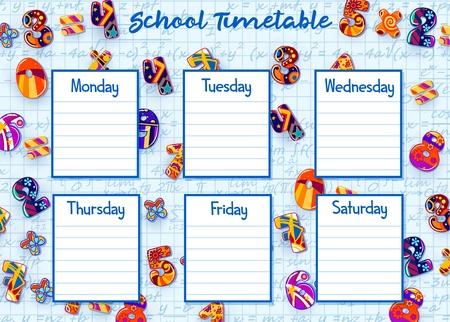 School timetable of weekly student schedule vector template.
