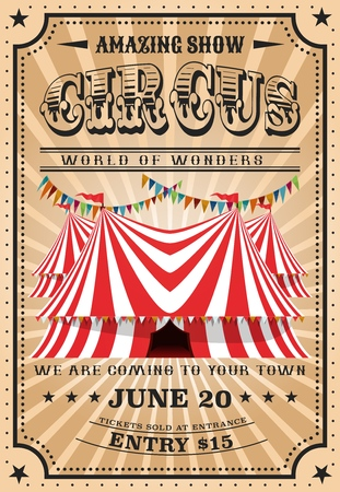 Circus performance vintage poster. Vector big top circus or funfair carnival show of world wonders, magic illusionist or animal tamers and equilibrist acrobats in retro frame with stars