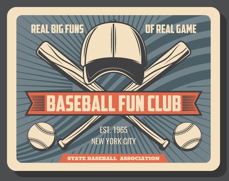 Baseball fan club, college or university sport team vintage poster. Vector baseball league or state association player equipment, bat and ball with cap and ribbon
