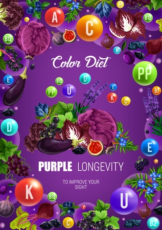 Color diet purple food healthy nutrition. Illustration