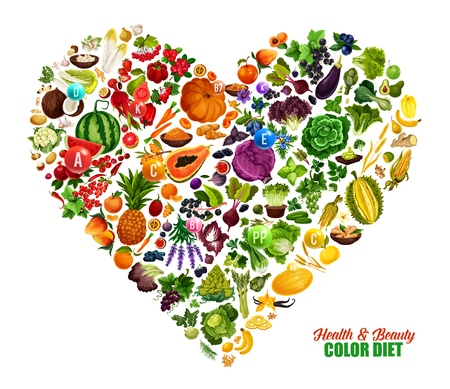 Color diet heart poster of fruits, vegetables and nuts healthy food and vitamins.