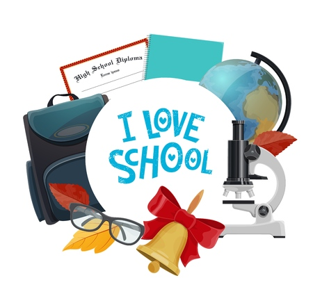 School supplies and student items vector icon of education design. Book, notebook and globe, backpack, microscope and glasses, graduation diploma and glasses with autumn leaves and bell