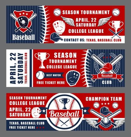 Banners de equipos deportivos de béisbol. Campeonato de equipo de la liga de béisbol de vector o juego de club de fans de la universidad, bate y pelota con copa de la victoria y cinta Ilustración de vector