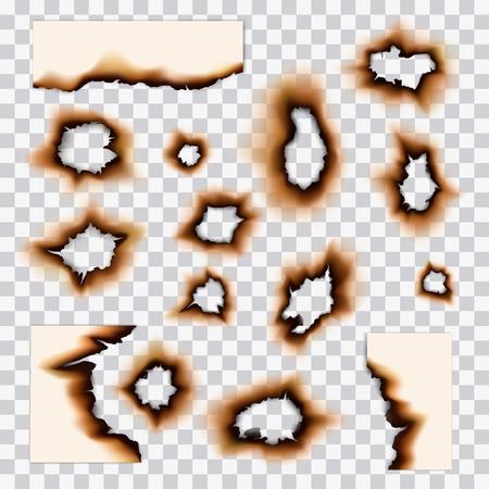 Agujeros de papel quemados y daños por quemaduras de fuego. Vector páginas de papel realistas y restos de hojas con bordes quemados por fuego, lados quemados y agujeros