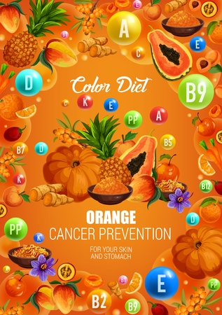 Color diet orange food healthy nutrition. Vector natural organic fruits, berries and spices with vitamins and minerals in orange color diet for cancer prevention, skin and stomach health Standard-Bild - 123799001