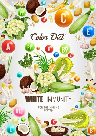 Color diet white food healthy nutrition.