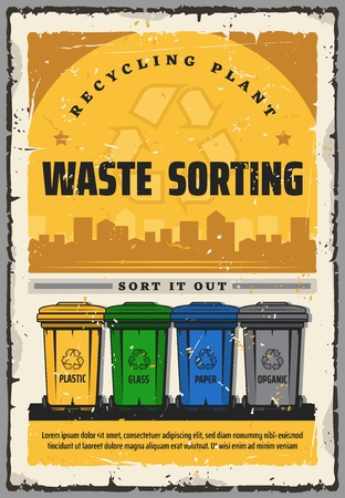 Waste sorting recycling plant vintage poster.  rs Illustration