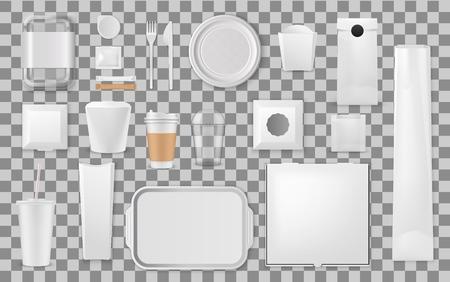Einweg-Plastikutensilien und Lebensmittelverpackungen. Vektorrealistische Takeaway-Behälter, Kaffeegetränkebecher und Papiertüten oder -boxen, Gabel- und Messer- oder Löffelbesteck, Einwegteller und Café-Tablett Vektorgrafik