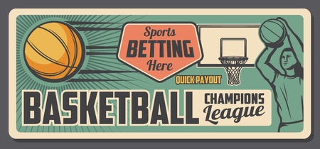 Basketball game bets and payout office poster. Vector vintage basketball player throwing a ball, sport club tournament or team league championship design Illustration