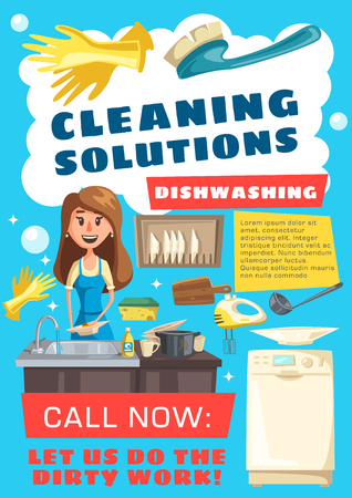 Cleaning service vector design of house cleaning works, laundry and washing dishes. Woman dishwasher cleaning cooking utensils, plates and cups with dishwashing machine, sponge and soap
