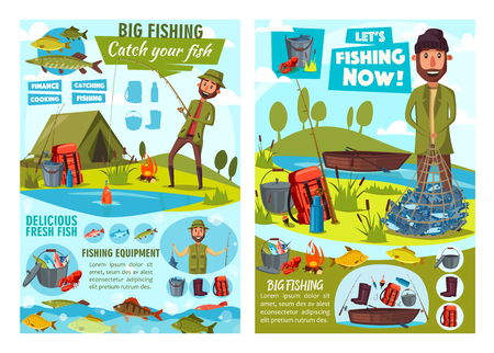 Fishing sport, fisherman equipment and fish catch vector posters. Fishing camp with fishers, rod and hook, boat, net and tent, marlin, salmon and trout, carp, pike and perch, angler tackle, spinning