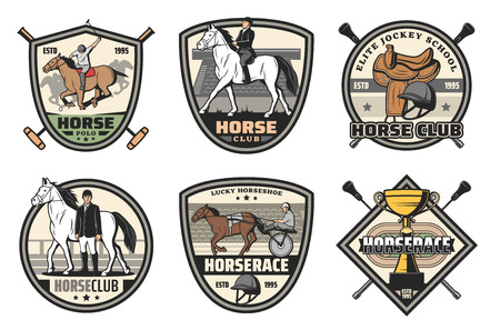 Horse race, polo and riding club vector badges of equestrian sport design. Racehorse, jockey and winner trophy cup, rider helmet, saddle and hippodrome retro icons with crossed whips and mallets