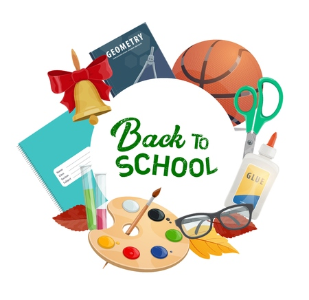 Back to school frame of stationery items. Vector geometry book, basketball ball, scissors and glue, glasses and watercolor paintings with brush. Chemical flask and exercise book, first september bell