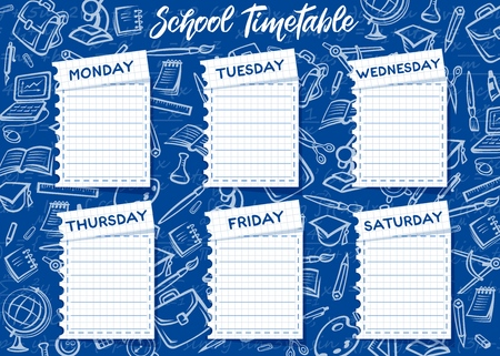 School timetable and weekly schedule vector design on blue chalkboard background. Student lessons plan template on notebook paper sheets with chalk sketches of book, globe and pencil, computer, paint Illustration