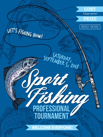 Salmon fishing, sport tournament vector poster with catched fish on hook of fishing rod. Salmon and fisherman spinning sketches, outdoor activity, recreation hobby and fisher club tournament design Vektorové ilustrace