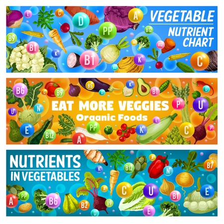 Vegetables nutrient chart and organic food health benefits vector banners. Vitamins and minerals in fresh tomato veggies, pepper and broccoli, onion, cabbage and asparagus. Healthy nutrition themes