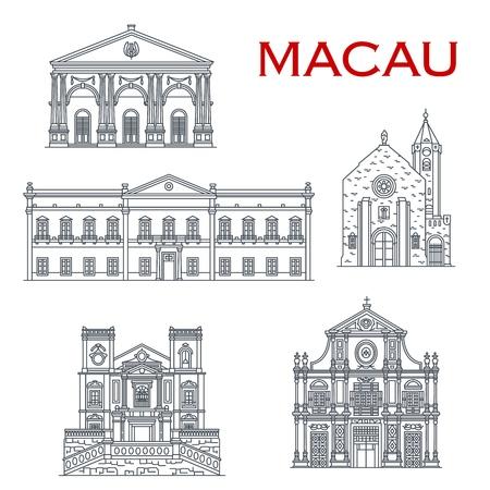 Chinesische Reisemarksteinvektorikonen mit asiatischer Architektur von Macau. Penha Church, Dom Pedro Theatre und Leal Senado Building, St. Lawrence und St. Dominic Church. Orientalisches Tourismusdesign Vektorgrafik