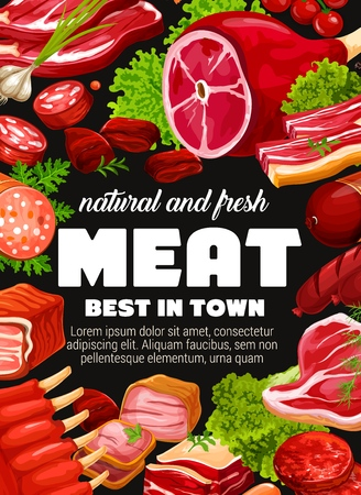 Fresh meat, sausage and butchery shop products vector design. Beef steak, pork ribs and salami, ham, bacon and chicken brisket, frankfurter, barbeque patty and pepperoni with spice herb and seasonings Foto de archivo - 120647813