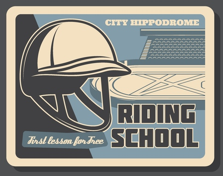 Horse riding school retro poster with vector hippodrome and jockey helmet. Equestrian sport club, horseback riding and horse racing competition themes design
