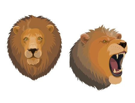Lion, king of animal vector icon with head of roaring leo. Cartoon wild cat of african jungle with brown mane, open mouth and sharp teeth. Tattoo, zoo mascot, safari hunting or zodiac horoscope symbol Illustration