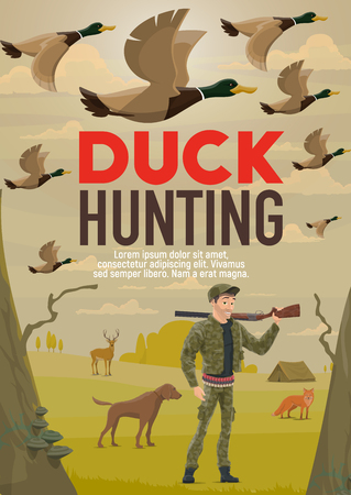 Duck hunting sport vector design of hunter with gun, dog, wild animals and birds. Huntsman with rifle or shotgun on shoulder, goose, deer and fox with forest tree and tent on background