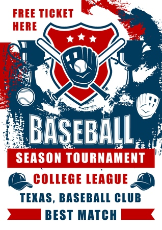 Baseball sport game championship match of college league season tournament vector design. Softball bats, balls and player gloves on shield with winner trophy cup and caps grunge invitation poster Stock Vector - 123640504