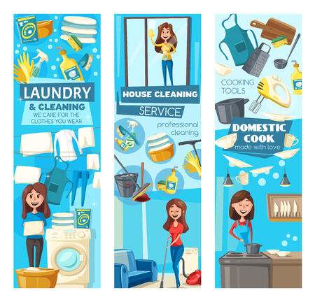 House cleaning, laundry and washing dishes vector banners of cleaning service. Women cleaners with vacuum, mop and broom, washing machine, sponge and window squeeze. Housework and household chores Ilustração