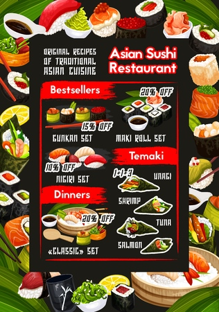 Sushi bar and japanese restaurant vector menu with discount offer of temaki, nigiri and gunkan set, philadelphia, california and maki rolls with salmon fish, rice and seafood. Asian cuisine design