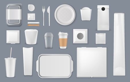 Food and drink packaging vector mockups. Blank templates of takeaway boxes, plastic packs and foam containers, paper bags, cups and trays, cardboard plates, fork and knife, sugar sticks and foil pouch Vektoros illusztráció