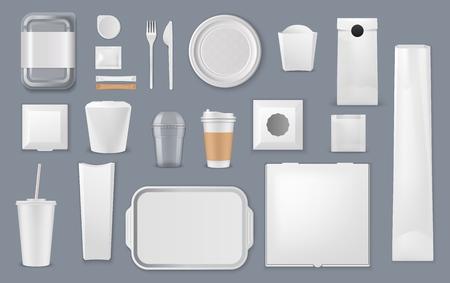 Maquetas de vectores de envases de alimentos y bebidas. Plantillas en blanco de cajas de comida para llevar, paquetes de plástico y recipientes de espuma, bolsas de papel, vasos y bandejas, platos de cartón, tenedor y cuchillo, barras de azúcar y bolsa de papel de aluminio Ilustración de vector