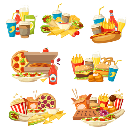 Fast food takeaway lunch vector icons with snack meal and drinks. Pizza, hamburger and soda, hot dog, fries and chicken nuggets, cheese sandwich, donut and coffee, burrito, nachos and ice cream