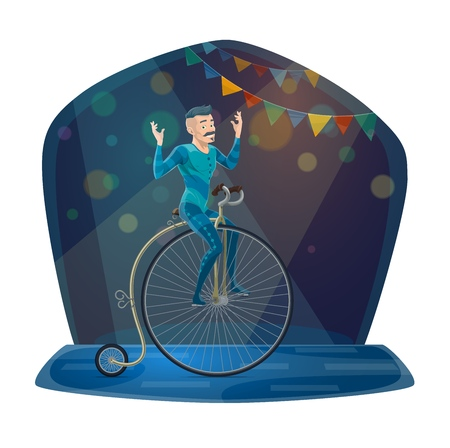 Circus acrobat balancing on vintage bicycle vector icon of carnival show or chapiteau performance design. Gymnast in blue costume riding retro bike or unicycle on arena with festive lights and flags Illustration