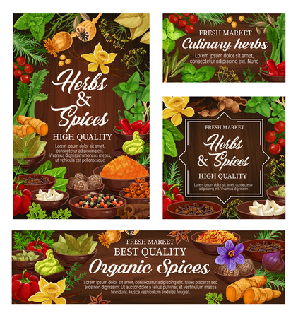 Herbs and spices vector posters of natural food seasonings. Basil, pepper and rosemary, cinnamon, vanilla and ginger, nutmeg, garlic and chilli, bay leaf, star anise and thyme on wooden background Ilustração