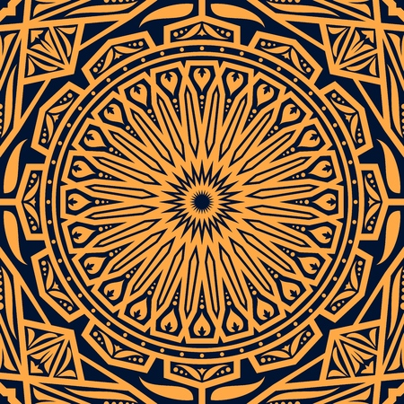 Arabic seamless floral pattern background vector design of round arabesque ornament with flowers and leaves motif. Oriental ethnic decoration, antique geometric mosaic or tile, damask fabric Illustration