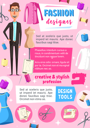 Fashion designer profession vector design of tailoring or sewing service. Tailor or dressmaker occupation poster with needle, thread and scissors, dress and mannequin, craft workshop or atelier studio