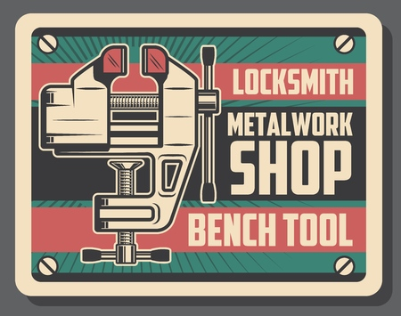 Metalworking and locksmith workshop retro promo poster design. Vector bench vice tool of turning and milling works. Construction, carpentry and metal work themes Çizim