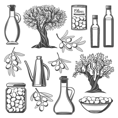 Olive vector icons with oil bottles, olive branches and tree, can, bowl and jar with fresh and pickled fruits. Vegetarian food, salad seasonings and mediterranean cuisine snack monochrome signs design