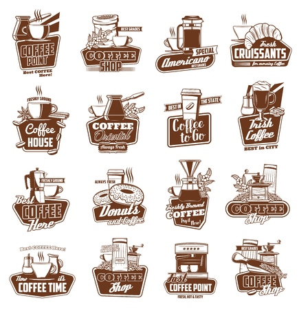 Coffee shop and cafe vector icons of hot drink cups and espresso machine. Cappuccino, latte and hot chocolate mugs, coffee pot, grinder and beans. Emblem, symbol and badge design Ilustracja