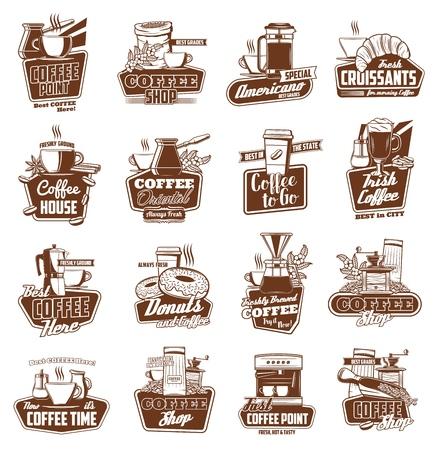 Kawiarnia i kawiarnia wektorowe ikony kubków z gorącymi napojami i ekspres do kawy. Kubki do cappuccino, latte i gorącej czekolady, dzbanek do kawy, młynek i ziarna. Projekt godła, symbolu i odznaki