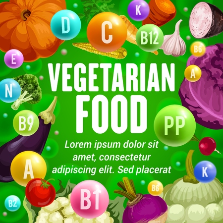 Vegetarian food vitamins and minerals vector poster with vegetables and seasonings. Fresh broccoli, carrot and tomato, garlic, cabbage and sweet potato, eggplant, pumpkin and corn veggies Ilustração