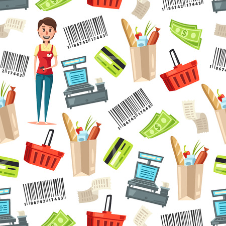 Cashier or woman seller of supermarket and store vector seamless pattern. Retail background with saleswoman, cash registers and food bags, money, barcodes and shopping baskets, checks, bank cards