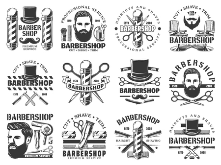 Barbershop vector icons of hair, beard and mustaches shave service. Hipster man head with razor blades, poles and clippers, salon chairs, brushes and combs, scissors and hairdryer. Barber shop design