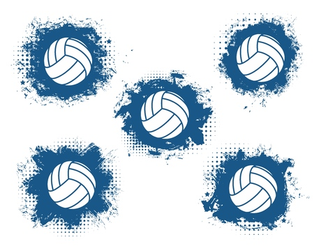 Volleyball balls grunge vector icons with blue halftone sport game equipment. Team player sporting items isolated symbols. Sport club emblem, badge and sign design Illustration